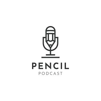 Mic pencil microfono conferenza podcast radio logo design