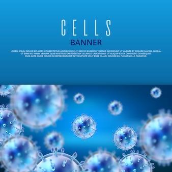 Microbiologia e modello medico dell'insegna di vettore con batteri e virus 3d