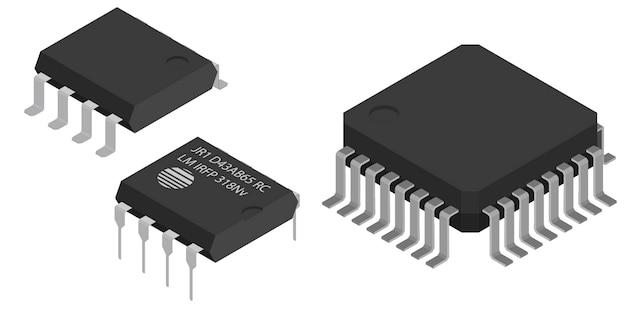 Microchip diversi in vista isometrica.