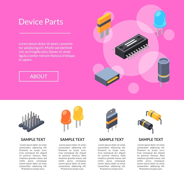 Microchip isometrici e icone di parti elettroniche