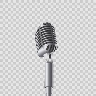 Microfoni di musica da concerto vintage retrò sul basamento.