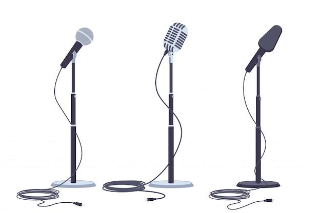 Microfoni su stand set piatto vettoriale di apparecchiature audio musica moderna e retrò.