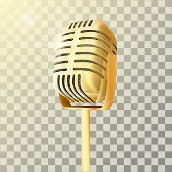 Microfono da studio dorato vintage.