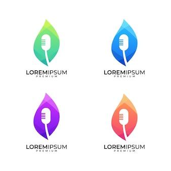 Microfono e foglia colorati, possono essere utilizzati per la musica, podcast, trasmissione logo design set