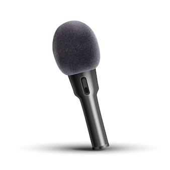 Microfono moderno su bianco