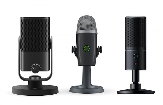 Microfono radiofonico isolato su fondo bianco