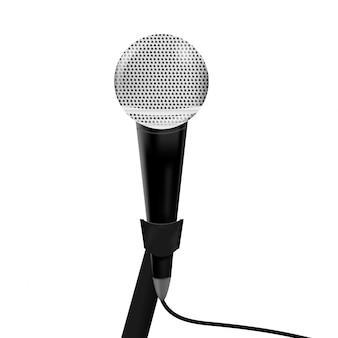 Microfono realistico su sfondo bianco. concetto di giornalismo e intervista.