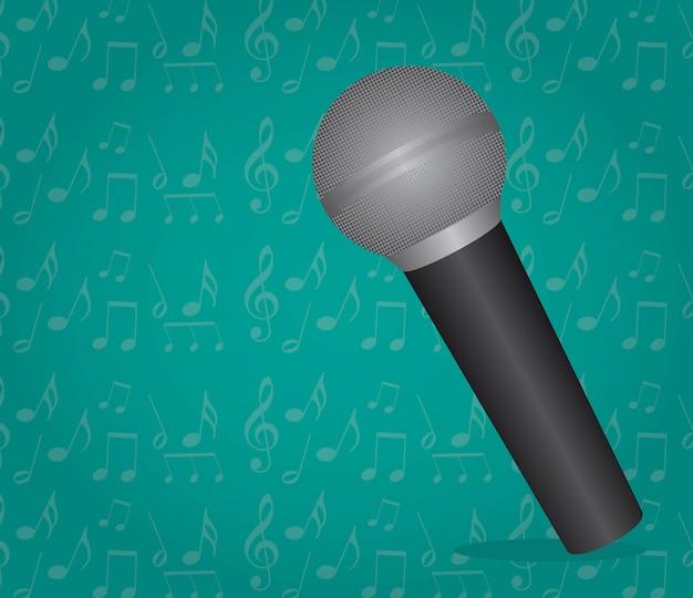 Microfono sopra illustrazione vettoriale sfondo acquamarina
