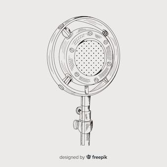 Microfono vintage disegnato a mano realistico