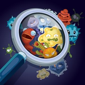 Microrganismo, batteri microscopici, virus pandemico, germi epidemici sotto lente d'ingrandimento
