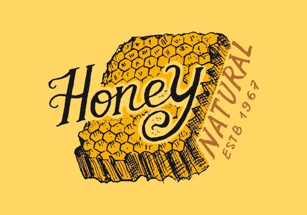 Miele e api. logo vintage per tipografia, negozio o insegne.