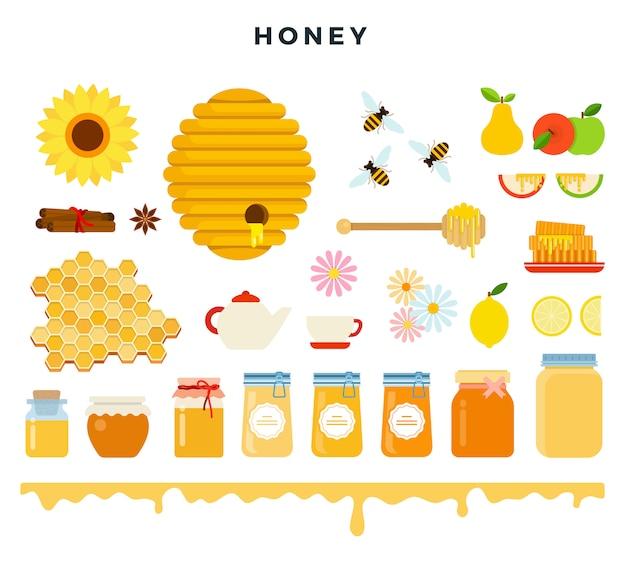 Miele e apicoltura, set di icone in stile piatto. api, alveare, nido d'ape, miele, strumenti di apicoltura, illustrazione vettoriale.
