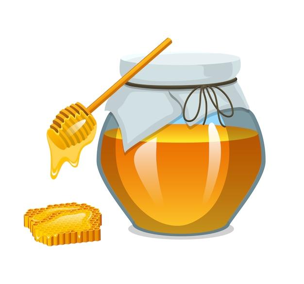 Miele in barattolo o prodotto agricolo naturale. cibo a nido d'ape cucinato dalle api.