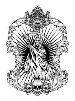 Mietitore con cornice ornamento illustrazione in bianco e nero