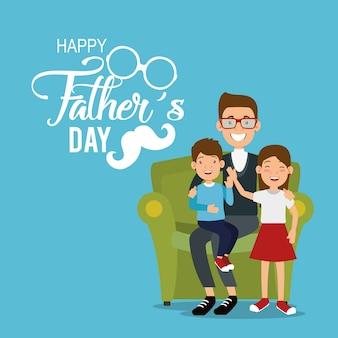 Miglior padre con gli avatar di figlia e figlio