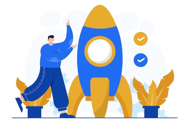 Migliora la tua illustrazione del concetto di business per il modello di landing page