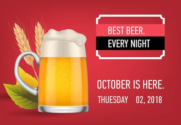 Migliore birra ogni notte design di banner con birra chiara