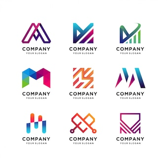 Migliore collezione di modelli di logo della lettera m.