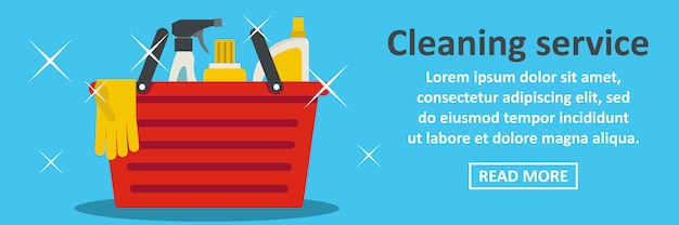 Migliore concetto orizzontale del modello dell'insegna di servizio di pulizia