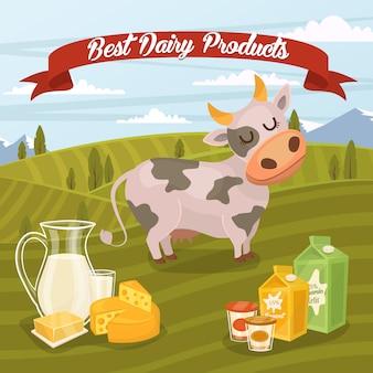 Migliore illustrazione di prodotti lattiero-caseari con paesaggio rurale