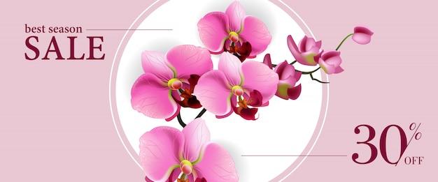 Migliore stagione di vendita, trenta per cento di sconto banner orizzontale con fiori rosa in cerchio bianco.