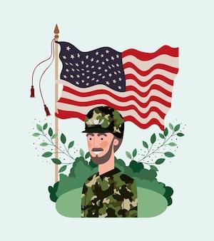 Militare uomo con bandiera usa nel campo