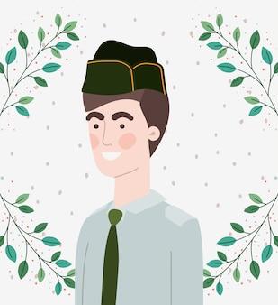 Militare uomo con foglie cornice ghirlanda