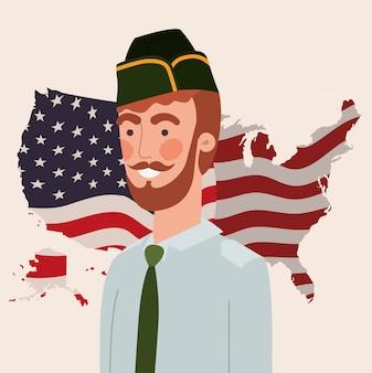 Militare uomo con mappa e bandiera usa