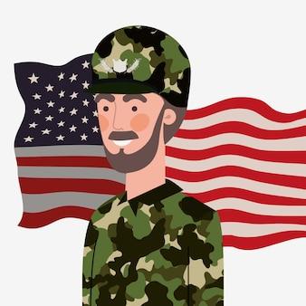 Militare uomo con sventolando bandiera usa