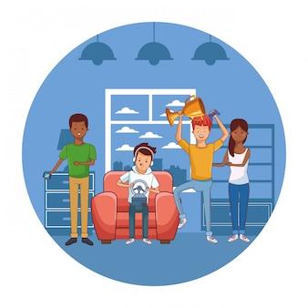 Millennial party game all'interno dell'icona rotonda casa