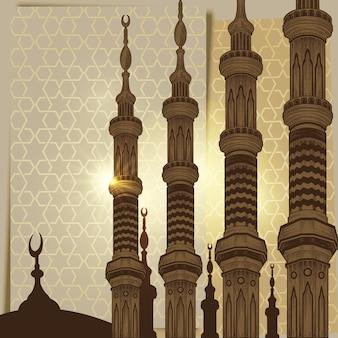 Minareto della torre della moschea sul fondo arabo dell'ornamento