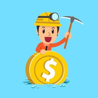 Minatore dell'uomo d'affari usa il piccone che lavora la miniera della moneta dei grandi soldi
