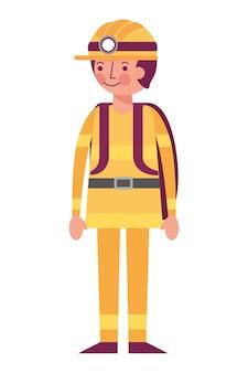 Minatore dell'uomo nell'illustrazione di vettore dell'attrezzatura e del casco