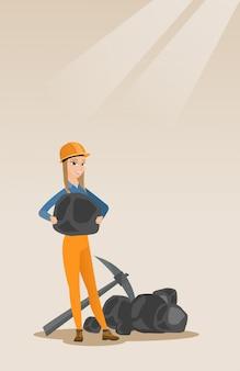 Minatore di carbone in mano
