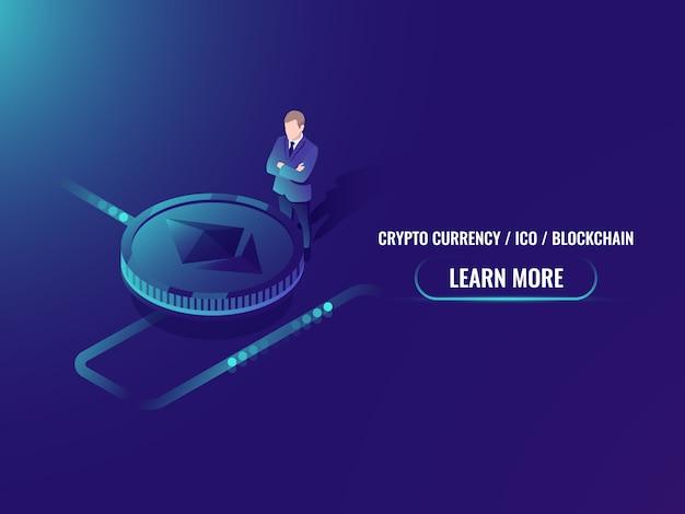 Mineraria di criptovaluta isometrica e concetto di acquisto, investimento in valuta criptata