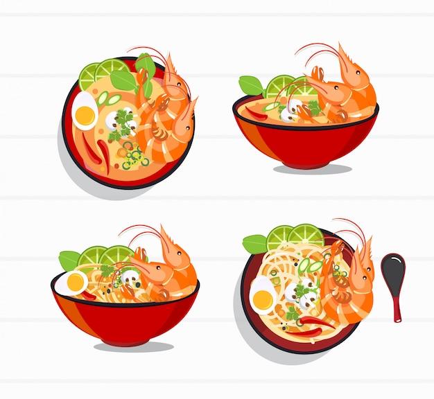 Minestra piccante di tom yum kung thai, alimento tailandese
