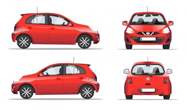 Mini auto rossa laterale, vista anteriore e posteriore, stile piatto.