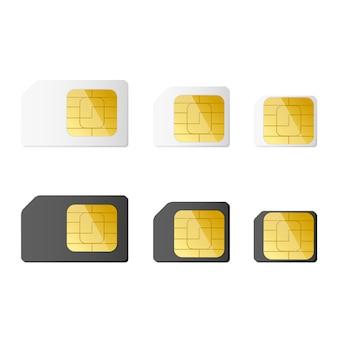 Mini, micro, nano sim card in bianco e nero