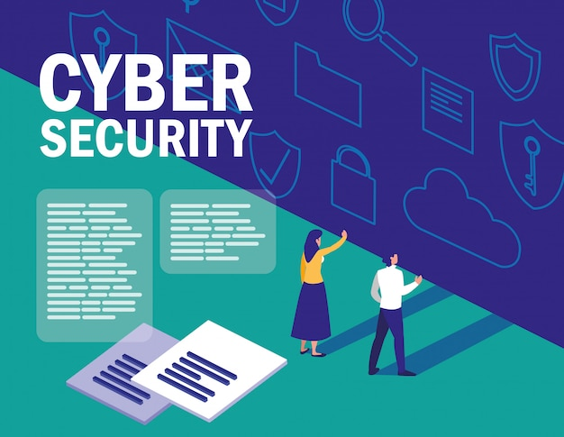 Mini persone con documento e set di icone di sicurezza informatica