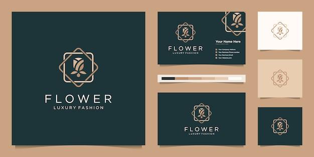 Minimalista elegante fiore rosa salone di bellezza di lusso, moda, prodotti per la cura della pelle, cosmetici, yoga e spa. logo design e biglietto da visita