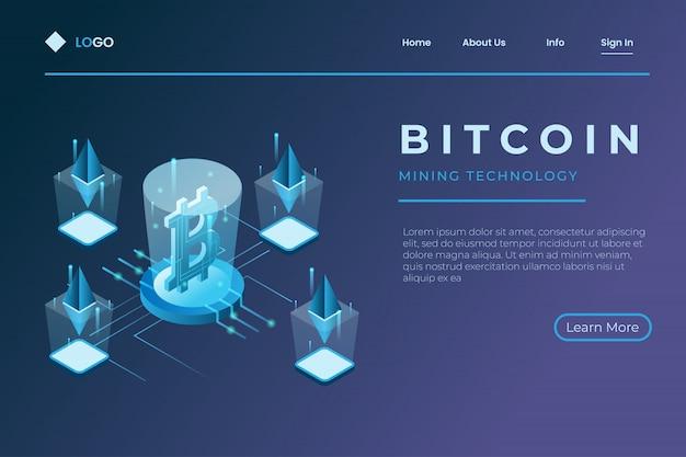 Mining ethereum criptovaluta in 3d isometrico, bitcoin e scambio di criptovaluta