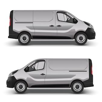 Minivan grigio consegna, minibus della città vista laterale destra e sinistra, con ombra