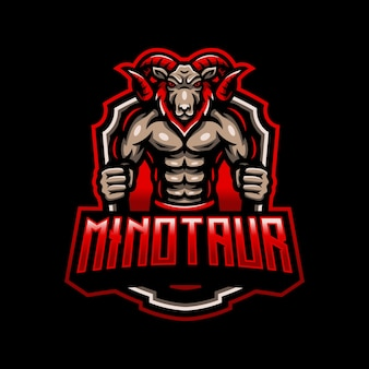 Minotauro capra ram mascotte logo esport gaming