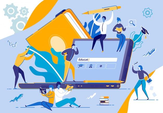 Minuscole persone che si muovono intorno a un enorme monitor per laptop