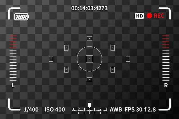 Mirino della fotocamera con iso e segni di batteria su sfondo trasparente