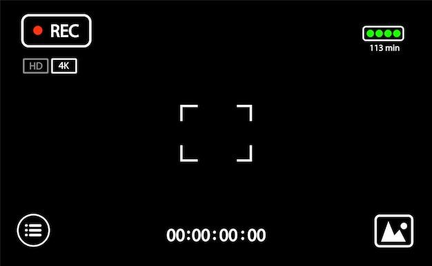 Mirino video della fotocamera digitale mirino dell'interfaccia di registrazione della fotocamera con impostazioni di messa a fuoco ed esposizione digitali.