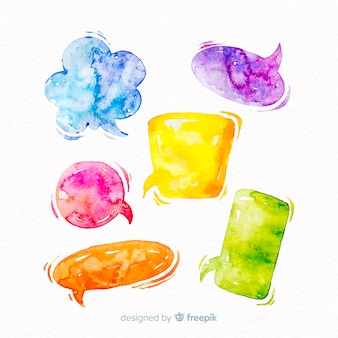 Miscela di bolle di discorso acquerellate vivaci