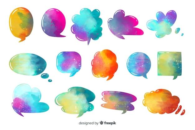 Miscela di bolle di discorso colorate acquerellate intense