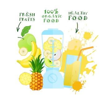 Miscelatore con il concetto sano dei prodotti biologici dell'alimento di logo del cocktail del succo di frutta fresca