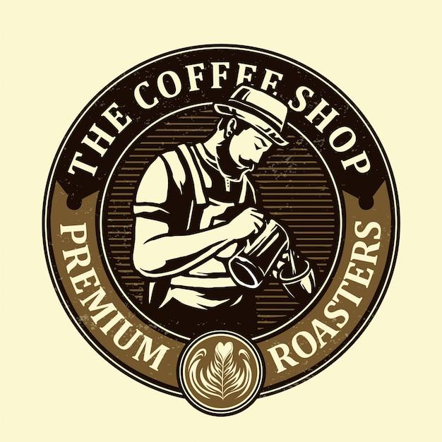 Miscelatori di caffè nella progettazione di logo di vettore della caffetteria